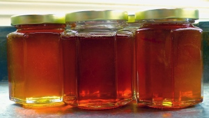 This Sept. 20, 2015 photo shows jars of raw honey in a home near Langley, Wash. (Dean Fosdick via AP)