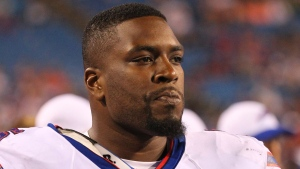 In this Aug. 14, 2015, file photo, Buffalo Bills offensive tackle Seantrel Henderson watches the action against the Carolina Panthers during the second half of an NFL preseason football game, in Orchard Park, N.Y. (Bill Wippert, File/AP Photo)