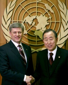 Prime Minister Stephen Harper and United Nations Secretary-General Ban Ki-moon shake hands after their meeting at the United Nations headquarters in New York, on Monday Feb. 23, 2008. (AP / Bebeto Matthews)