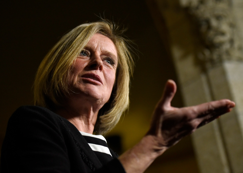 Alberta Premier Rachel Notley speaks to reporters during a media availability on Parliament Hill, Tuesday, Nov. 29, 2016 in Ottawa. (Justin Tang / THE CANADIAN PRESS)