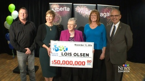Lois Olsen collected her cheque at the Alberta Gaming and Liquor Commission office in St. Albert on Wednesday.