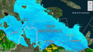 New Brunswick Accuweather radar map as of 9:30 a.m. ET (Accuweather.com)