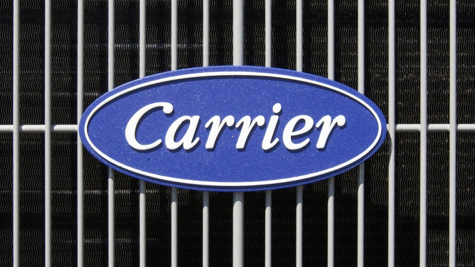 The Carrier logo on an air conditioning unit in Omaha, Neb. (Nati Harnik / AP)