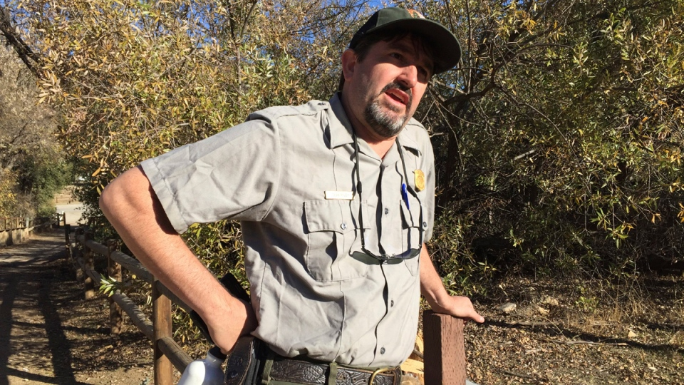 National Park Service wildlife ecologist Seth Riley at Santa Monica Mountains National Recreation Area in Calabas, Calif., on Nov. 30, 2016. (Amanda Lee Myers / AP)