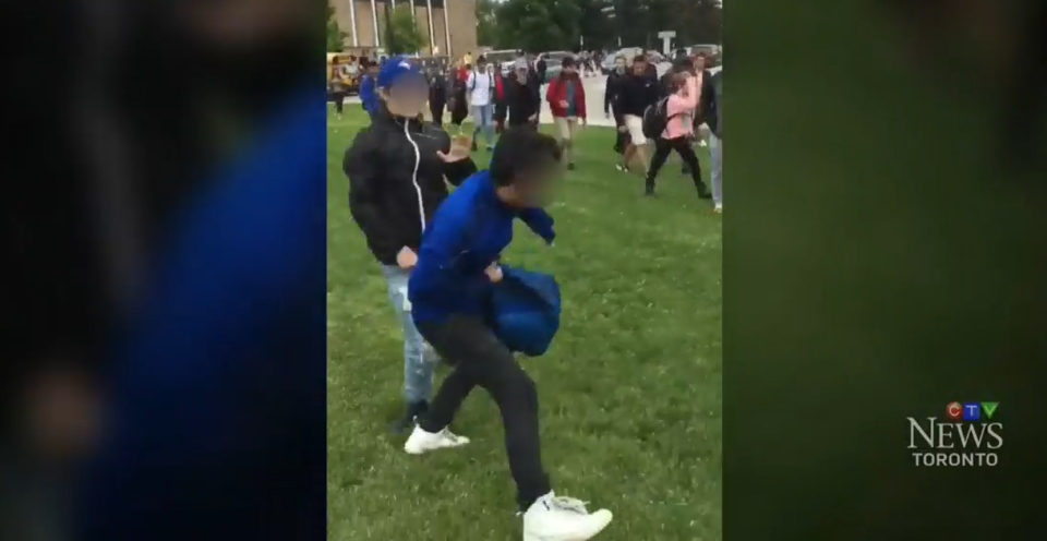 A video believed to be shot at a Toronto-area school in June shows one teen allegedly assaulting another.
