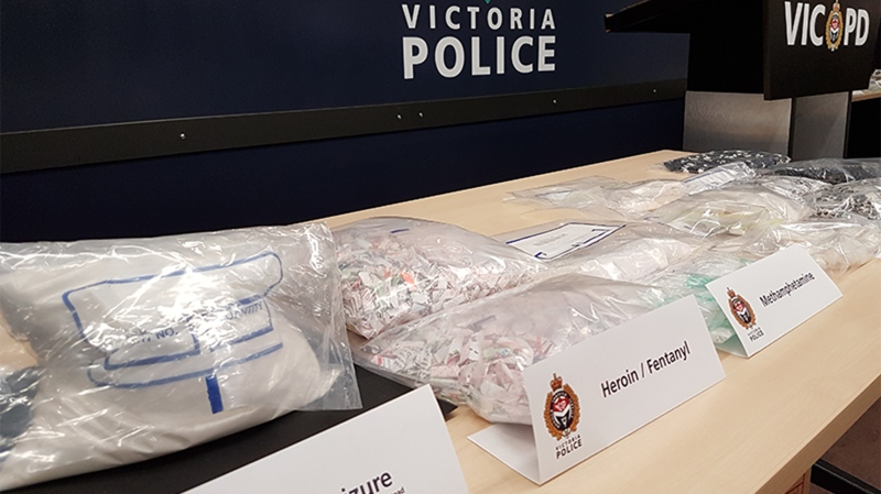 Victoria police have seized a shipment of illicit drugs from China worth $1.2-million, including a massive quantity of the deadly opiate fentanyl. Dec. 1, 2016. (Victoria Police)