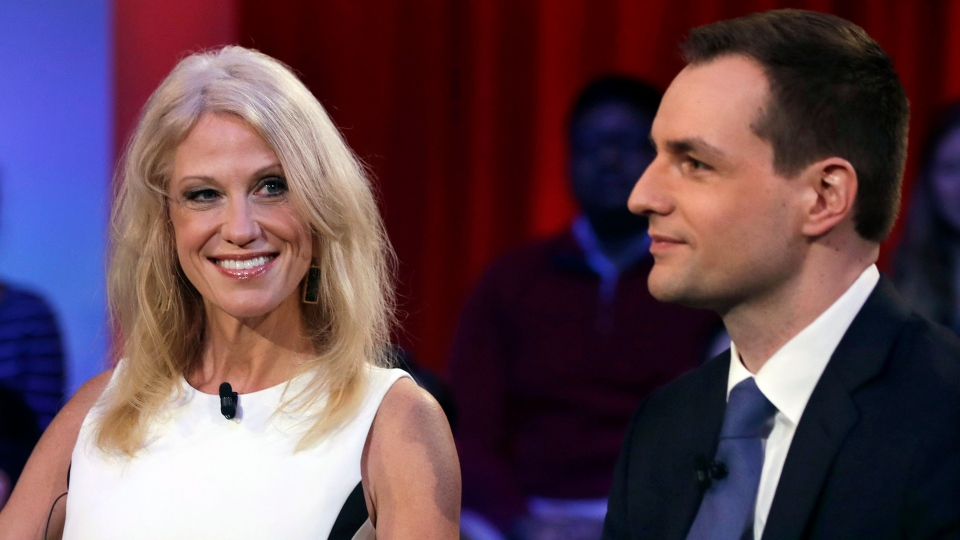Kellyanne Conway, the campaign manager for Donald Trump, left, looks towards Robby Mook, the campaign manager for Hillary Clinton, prior to a forum at Harvard University's Kennedy School of Government in Cambridge, Mass., Thursday, Dec. 1, 2016. (AP Photo / Charles Krupa)