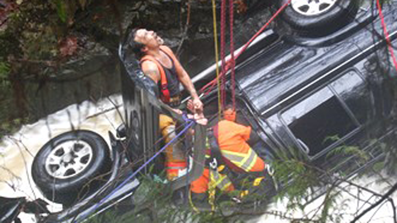 The rescue of a British Columbia woman after her SUV plunged off the Sunshine Coast Highway near Sechelt and landed in a swollen creek was 'miraculous,' RCMP said Thursday.
