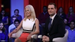 Kellyanne Conway, the campaign manager for Donald Trump, left, and Robby Mook, campaign manager for Hillary Clinton, sit on stage prior to a forum at Harvard University's Kennedy School of Government in Cambridge, Mass. on Thursday, Dec. 1, 2016. (AP / Charles Krupa)