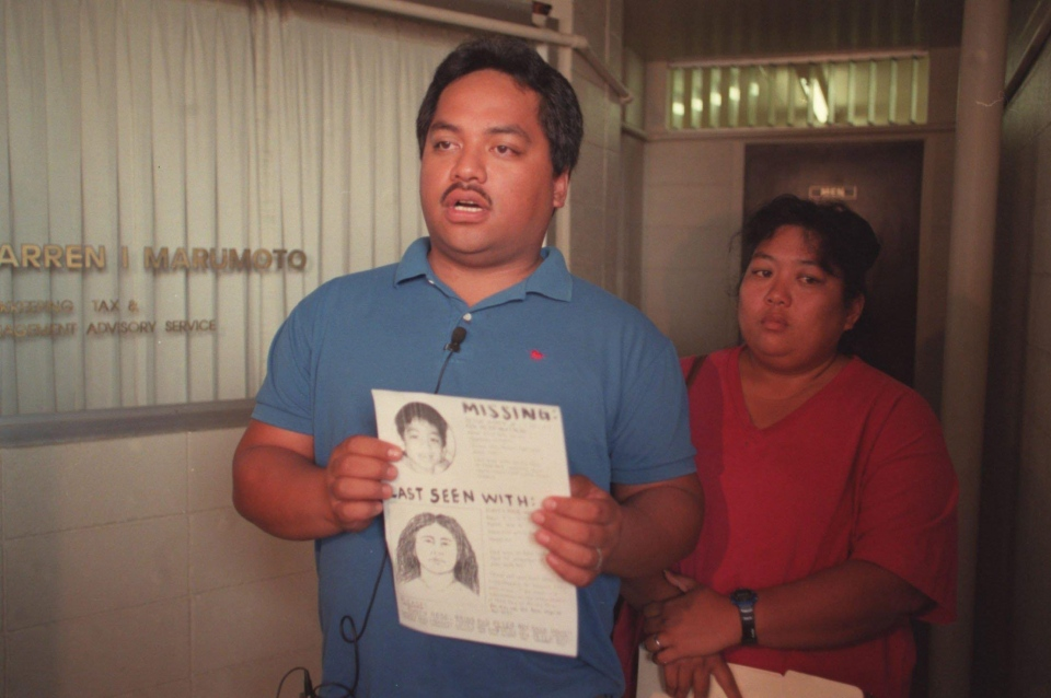 In this April 27, 1998, file photo, Peter Kema Sr. and Jaylin Kema, parents of missing Hawaii boy Peter Kema, known as 'Peter Boy,' are shown in Honolulu, Hawaii. Prosecutors say Jaylin Kema's guilty plea, Thursday, Dec. 1, 2016, finally provides proof the boy is dead. (Jeff Widener/The Honolulu Advertiser via AP, File)