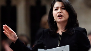 Maryam Monsef Minister of Democratic Institutions stands in the House of Commons during question period on Parliament Hill, in Ottawa, Thursday, December 1, 2016. THE CANADIAN PRESS/Fred Chartrand