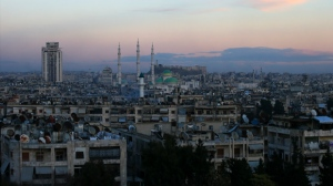 A general picture shows Aleppo citadel and the President Mosque, in the Syrian government controlled central Aleppo, Syria, Friday, Dec. 2, 2016. Syrian state media is reporting from areas newly captured during a government ground offensive in the besieged enclave of eastern Aleppo, showing resettlement of civilians, restorations of roads and removal of debris. (AP Photo/Hassan Ammar)