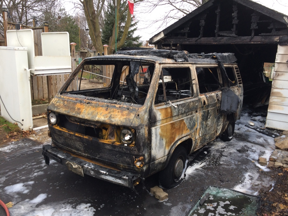 A van was destroyed by fire near Dunsdon Street and Bernard Avenue in Brantford on Friday, Dec. 2, 2016. (Dan Lauckner / CTV Kitchener)