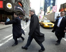 Prime Minister Stephen Harper tours Times Square following a media interview in New York City on Monday, Feb. 23, 2009. (Tom Hanson / THE CANADIAN PRESS)