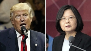 """This combination of two photos shows U.S. President-elect Donald Trump, left, speaking during a """"USA Thank You"""" tour event in Cincinatti Thursday, Dec. 1, 2016, and Taiwan's President Tsai Ing-wen, delivering a speech during National Day celebrations in Taipei, Taiwan, Monday, Oct. 10, 2016. (AP / Evan Vucci, Chinag Ying-ying, File)"""