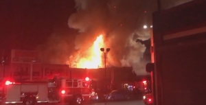 A blaze that broke out during a party in a warehouse late Friday night in the San Francisco Bay Area, according to fire officials. (Oakland Firefighters / Twitter)