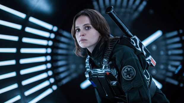 """This image released by Lucasfilm Ltd. shows Felicity Jones as Jyn Erso in a scene from, """"Rogue One: A Star Wars Story."""" (Jonathan Olley/Lucasfilm Ltd. via AP)"""