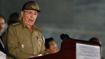 Cuba's President Raul Castro speaks during a rally honoring Fidel Castro at the Revolution Plaza in Havana, Cuba, Tuesday, Nov. 29, 2016. Regional leaders and tens of thousands of Cubans filled Havana's Plaza of the Revolution Tuesday night for a service honoring Fidel Castro on the wide plaza where the Cuban leader delivered fiery speeches to mammoth crowds in the years after he seized power.(AP Photo/Ricardo Mazalan)