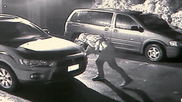 A suspected serial tire-slasher has been captured on video after neighbours set up hidden cameras on their Surrey street. (Provided)
