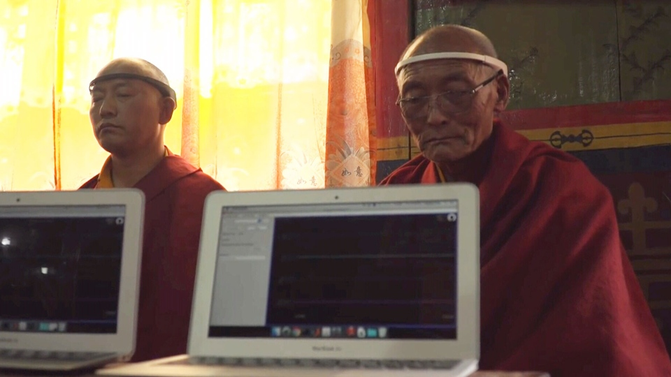 InteraXon's Muse headband is seen on monks who helped test the Canadian-made meditation device.