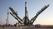 In this photo dated Tuesday, Nov, 29, 2016 the Soyuz-FG rocket booster with the Progress MS-04 cargo ship is installed on a launch pad in Baikonur, Kazakhstan. The unmanned Russian cargo space ship Progress MS-04 broke up in the atmosphere over Siberia on Thursday Dec. 1, 2016, just minutes after the launch en route to the International Space Station due to an unspecified malfunction, the Russian space agency said.(Oleg Urusov/ Roscosmos Space Agency Press Service photo via AP)