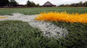 This Sept. 28, 2016, photo shows a Duraspine turf field in Newark, N.J. FieldTurf, the country's leading maker of artificial sports turf, sold more than 1,000 fields to towns, schools and teams nationwide after its executives knew they were falling apart faster than expected and might not live up to lofty marketing claims, according to an investigation by NJ Advance Media. (Andre Malok/NJ Advance Media via AP)