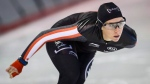 Speedskater Ivanie Blondin trains at the Olympic Oval in Calgary, Alta., Monday, Oct. 17, 2016. (Jeff McIntosh/The Canadian Press)