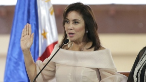 Philippine Vice President Leni Robredo is sworn in during inauguration ceremonies in suburban Quezon city, north of Manila, Philippines on June 30, 2016. (AP / Aaron Favila)