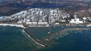 This aerial photo shows Fukushima Dai-ichi nuclear power plant in Okuma, Fukushima Prefecture, on Nov. 22, 2016. (Kyodo News via AP)