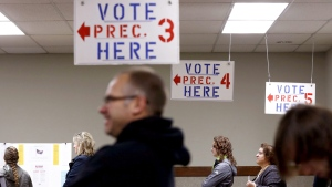 Voters line up to cast their ballots in Fenton, Mich., on Nov. 8, 2016. (Tegan Johnston / The Flint Journal-MLive.com via AP)