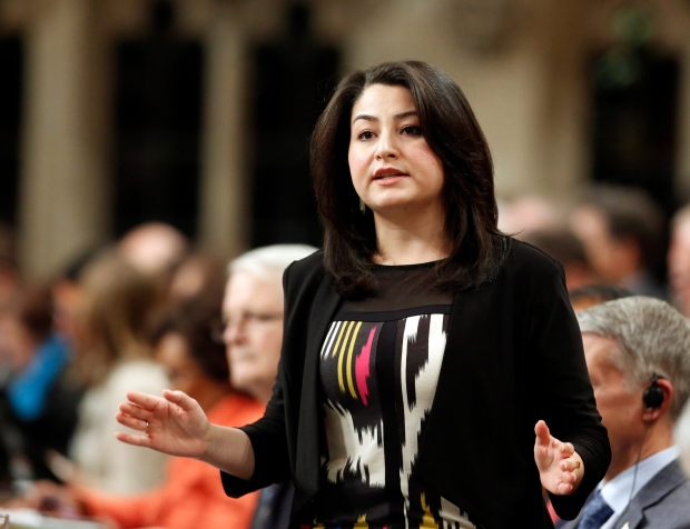 Minister of Democratice Institutions Maryam Monsef stands in the House of Commons during question period on Parliament Hill in Ottawa, Monday, December 5 , 2016. (THE CANADIAN PRESS/Fred Chartrand)