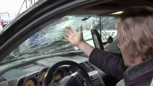 Falling ice from Metro Vancouver bridges damaged vehicles below on Monday.
