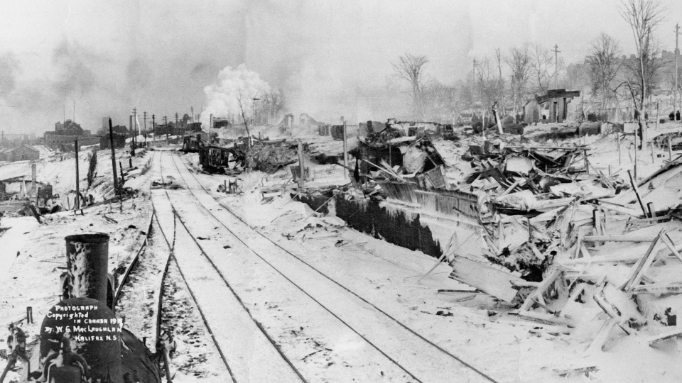 The aftermath of the Halifax Explosion is seen in the city. (The Canadian Press)