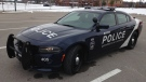 A new dark blue Barrie, Ont police cruiser can be seen on Tuesday, Dec. 6, 2016. (K.C. Colby/ CTV Barrie)