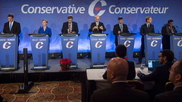 Participants prepare for the start of the Conservative leadership candidates' bilingual debate in Moncton, N.B. on Tuesday, Dec. 6, 2016. Conservatives vote for a new party leader on May 27, 2017. (Andrew Vaughan/The Canadian Press)