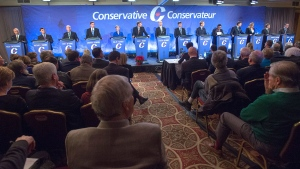 The 14 participants in the Conservative leadership candidates' bilingual debate are seen in Moncton, N.B. on Tuesday, Dec. 6, 2016. Conservatives vote for a new party leader on May 27, 2017. THE CANADIAN PRESS/Andrew Vaughan