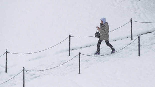 A woman walks through Queen Elizabeth Park as snow falls in Vancouver, B.C., on Monday December 5, 2016. Environment Canada has issued a snowfall warning for Metro Vancouver. (THE CANADIAN PRESS/Darryl Dyck)