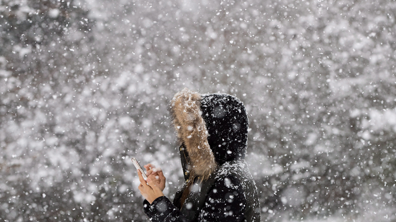 Fiona Zhang checks her phone after taking a photo of the snow falling at Queen Elizabeth Park in Vancouver, B.C., on Monday December 5, 2016. THE CANADIAN PRESS/Darryl Dyck