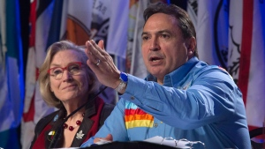Indigenous and Northern Affairs Minister Carolyn Bennett looks on as Assembly of First Nations Chief Perry Bellegarde speaks during a session at the AFN Special Chiefs assembly in Gatineau, Wednesday December 7, 2016. (THE CANADIAN PRESS / Adrian Wyld)