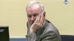 Former Bosnian Serb military chief General Ratko Mladic looks across the court room at the International Criminal Tribunal for the Former Yugoslavia in the Hague Netherlands in this image taken from video on Wednesday, Dec. 7, 2016. (ICTY Video via AP)