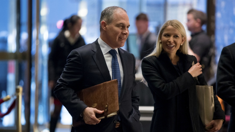 Oklahoma Attorney General Scott Pruitt arrives at Trump Tower in New York on Wednesday, Dec. 7, 2016. (AP / Andrew Harnik)