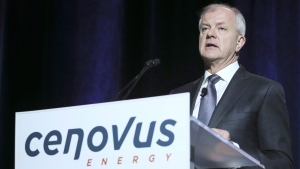 Brian Ferguson, President and CEO of Cenovus Energy, speaks at the company's annual meeting in Calgary, Wednesday, April 27, 2016. (Mike Ridewood / THE CANADIAN PRESS)