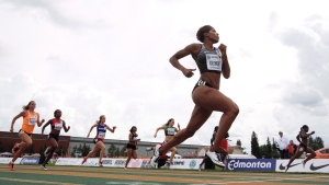 In this file photo, Phylicia George wins heat 3 of the 100 metre senior women's semi final at the Canadian Track and Field Championships and Selection Trials for the 2016 Summer Olympic and Paralympic Games, in Edmonton, Alta., on Saturday, July 9, 2016. (THE CANADIAN PRESS / Jason Franson)