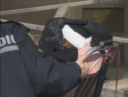Paramedics took the Oakwood bus shooting victim to Sunnybrook hospital on Monday, Feb. 23, 2009.