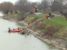 Police search Thames River in Chatham for missing man on Dec. 5, 2016. (Chris Campbell/CTV News)