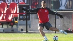 Toronto FC Benoit Cheyrou takes part in a training session, in Toronto on Friday, December 9, 2016, ahead of tomorrow's MLS Cup final against the Seattle Sounders. (Chris Young/The Canadian Press)