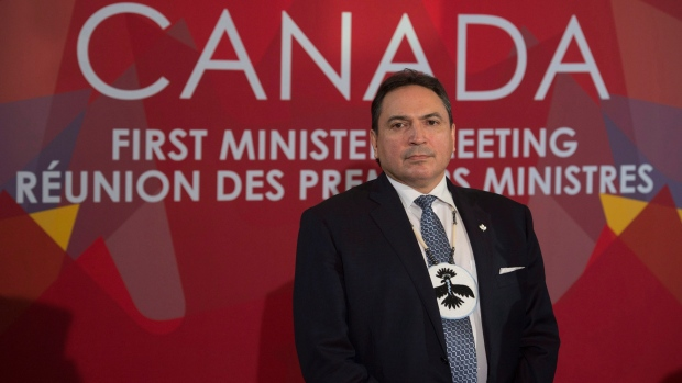 Assembly of First Nations Chief Perry Bellegarde listens to a question as he speaks with the media following the First Ministers' and National Indigenous Leaders' Meeting in Ottawa, on Friday, Dec. 9, 2016. (THE CANADIAN PRESS/Adrian Wyld)