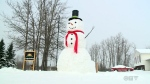 Everything about Campeau's creation is supersized. The snowman's scarf is nine metres long. The nose is made from a piece of lumber, since an appropriately sized carrot was impossible to come by.