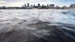 The waters of the St.Lawrence River flow past the city of Montreal Wednesday, November 11, 2015. (Paul Chiasson/The Canadian Press)