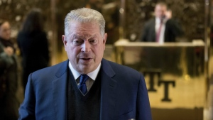Former U.S. vice-president Al Gore speaks to members of the media after meeting with Ivanka Trump and President-elect Donald Trump at Trump Tower, Monday, Dec. 5, 2016, in New York. (AP / Andrew Harnik)